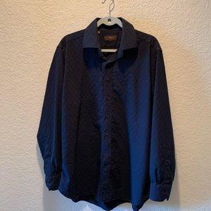Etro navy textured button down dress shirt, 44